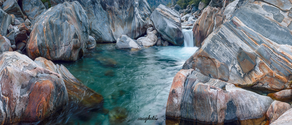 colorful stones and wild water